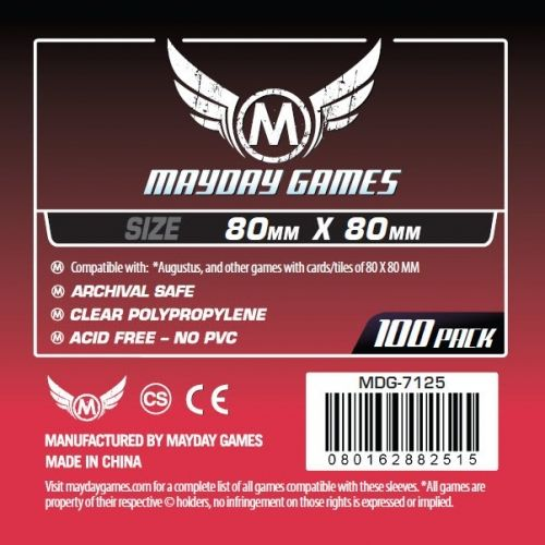 MAYDAY GAMES - SQUARE SIZE CARD SLEEVES 80X80 - 100 БР. ПРОЗРАЧНИ