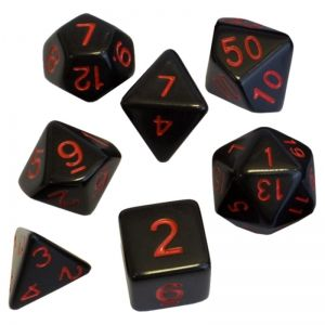 BLACKFIRE DICE - 16mm Set - Black with Red Numbers