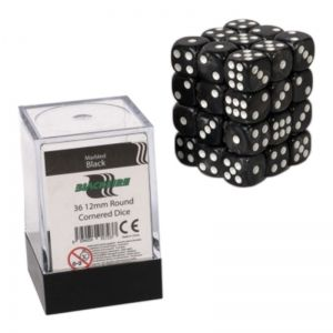 BLACKFIRE DICE - 12mm 36 Piece d6 Set - Marbled Black