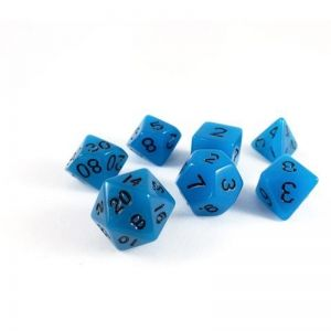 GLOW IN THE DARK RPG DICE SET - BLUE