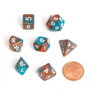 BLACKFIRE DICE - FAIRY MINI 9-12mm Set - BiColor Orange/Blue