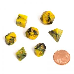 BLACKFIRE DICE - FAIRY MINI 9-12mm Set - BiColor Yellow/Black