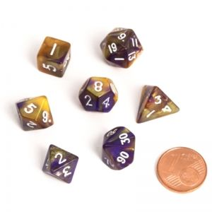 BLACKFIRE DICE - FAIRY MINI 9-12mm Set - BiColor Yellow/Purple