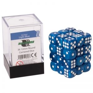 BLACKFIRE DICE - 12mm 36 Piece d6 Set - Marbled Light Blue