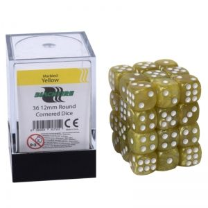 BLACKFIRE DICE - 12mm 36 Piece d6 Set - Marbled Yellow