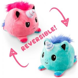 UNSTABLE UNICORNS REVERSIBLE PLUSHIE - UNICORN (PINK AND TEAL)